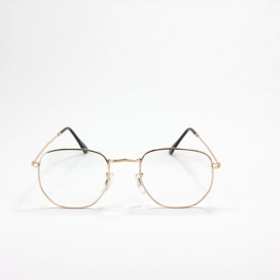 Altıgen Metal Çerçeveli Unisex Gözlük Gold