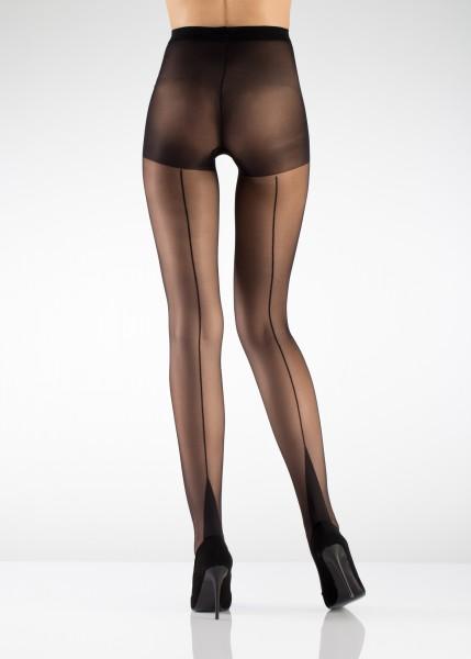 Arkadan Çizgili Desenli Külotlu Çorap Siyah