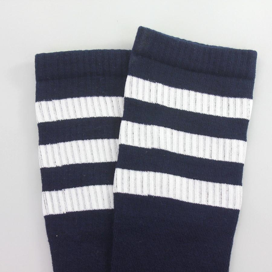 Beyaz Çizgili Diz Altı Koton Spor Çorap Lacivert