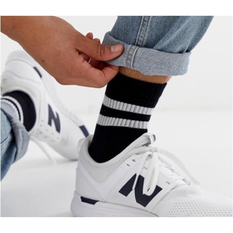 Beyaz Çizgili Kısa Konç Erkek Spor Çorap Siyah (43-46 Numara)