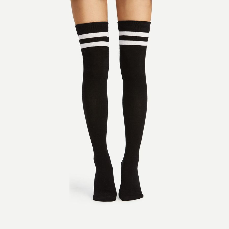 Boom Beyaz Çizgili Pamuklu Diz Üstü Çorap Siyah
