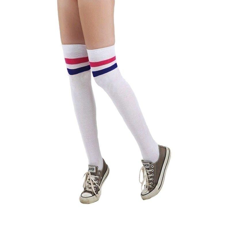 Boom Kırmızı Mavi Çizgili Pamuklu Diz Üstü Çorap Beyaz