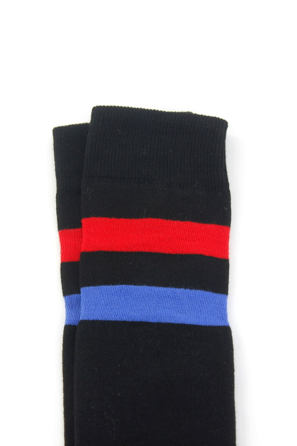 Boom Kırmızı Mavi Çizgili Pamuklu Diz Üstü Çorap Siyah