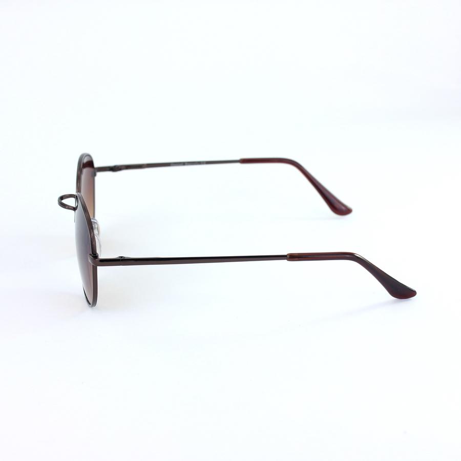 Bronz Metal Çerçeveli Küçük Yuvarlak Unisex Güneş Gözlüğü Kahverengi