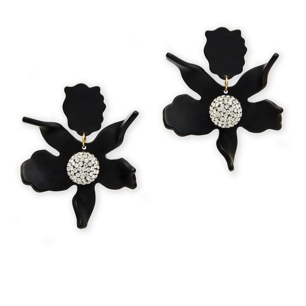 Büyük Çiçek Küpe Siyah