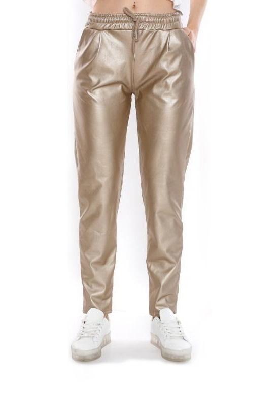 Cepli Bağcıklı Deri Spor Pantolon Gold
