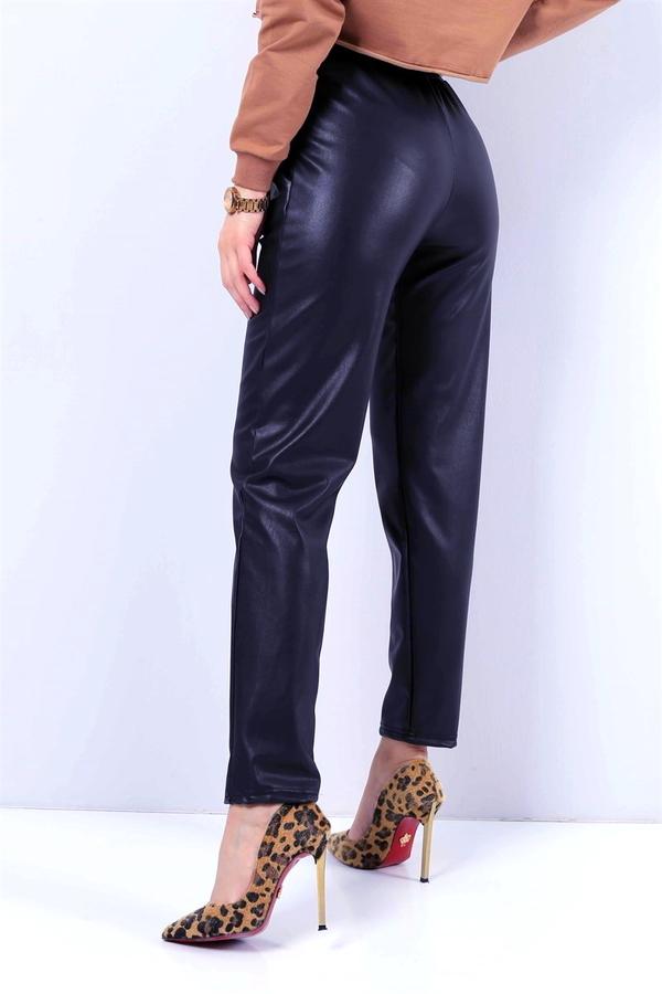 Cepli Bağcıklı Deri Spor Pantolon Lacivert