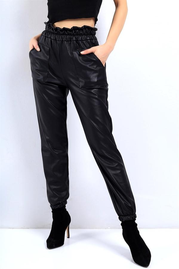 Cepli Paçaları Lastikli Deri Pantolon Siyah
