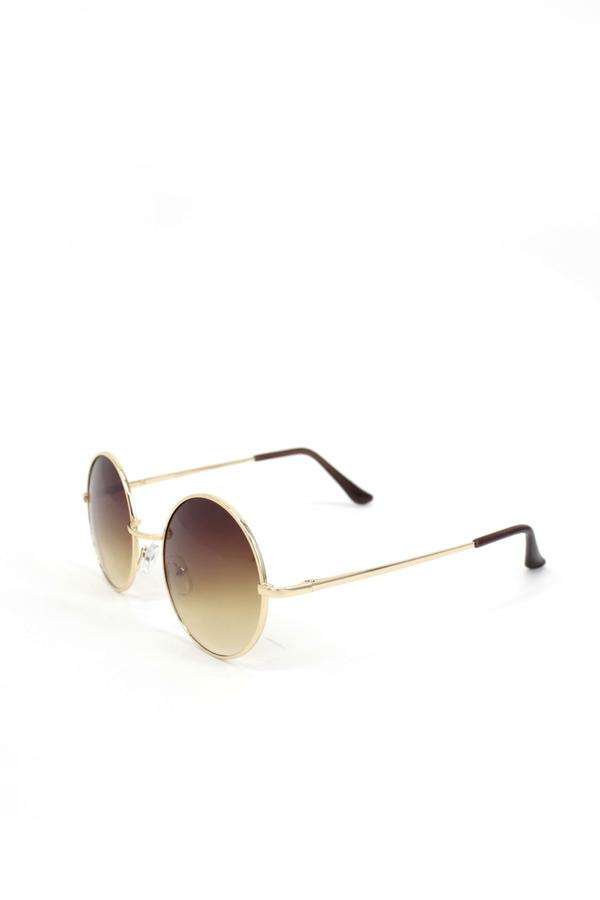 Chance Gold Metal Çerçeveli Yuvarlak Unisex Güneş Gözlüğü Kahverengi 5cm
