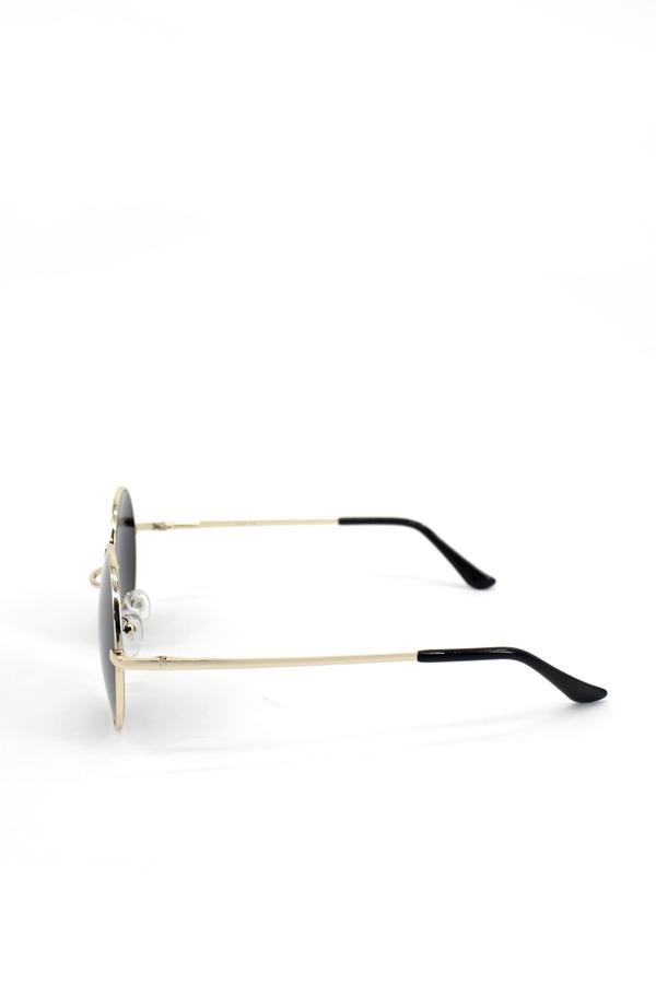 Chance Gold Metal Çerçeveli Yuvarlak Unisex Güneş Gözlüğü Siyah 5cm
