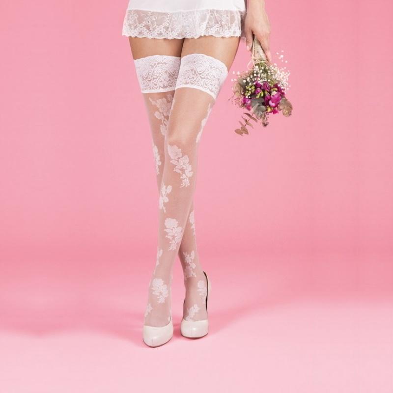 Çiçek Desenli Dantelli Silikonlu Jartiyer Çorabı 15 Den Beyaz
