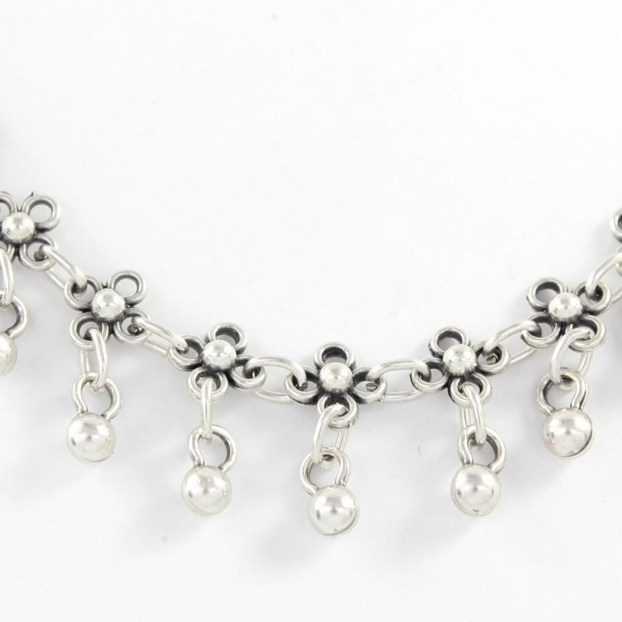 Çiçekli Top Sallantılı Boho Halhal Silver