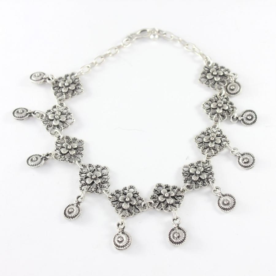 Çiçekli Yuvarlak Sallantılı Boho Halhal Silver