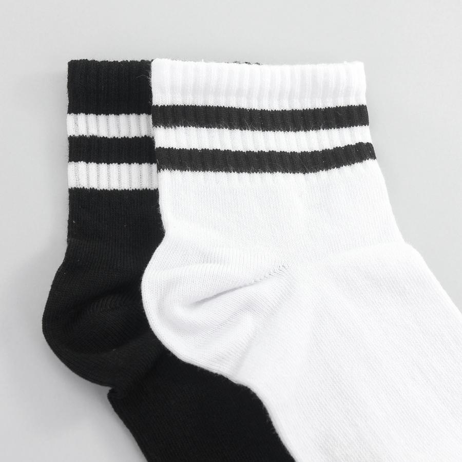 Çizgili Kısa Konç Erkek Spor Çorap Siyah Beyaz 2li (43-46 Numara)