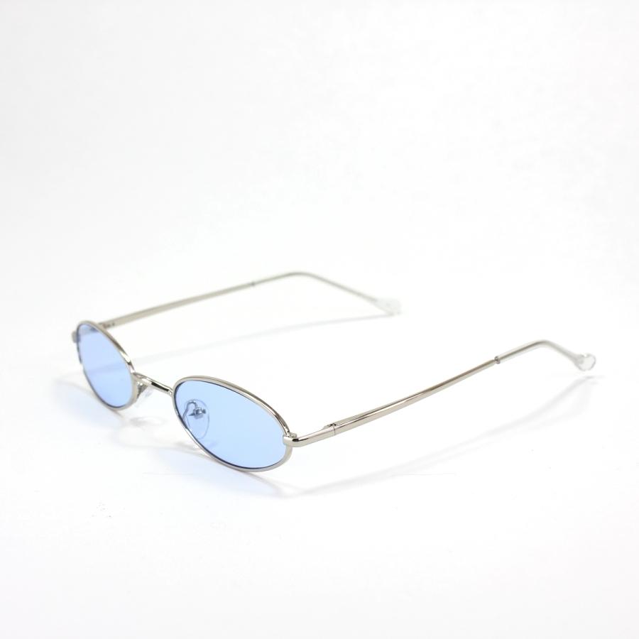 Clout Silver Çerçeveli Küçük Oval Güneş Gözlüğü Mavi