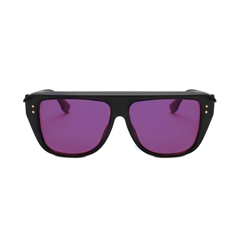Club2 Gölgelikli Lila Camlı Büyük Unisex Güneş Gözlüğü Siyah