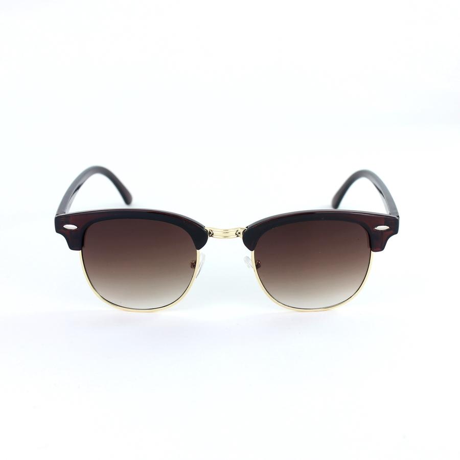 Clubmaster Klasik Retro Unisex Güneş Gözlüğü Gold Kahverengi