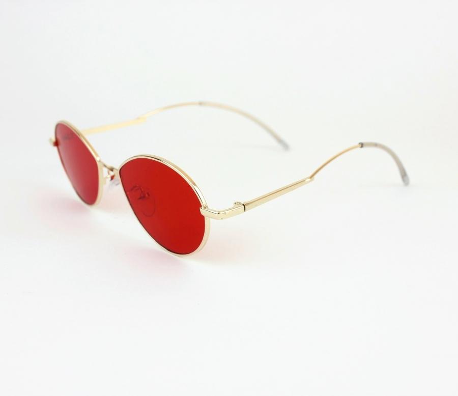 Cobalt Gold Metal Çerçeveli Kırmızı Camlı Küçük Oval Unisex Güneş Gözlüğü