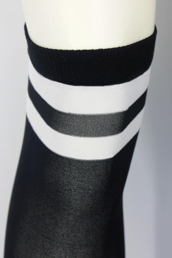 Cool Beyaz Çizgili Opak Diz Üstü Çorap Siyah