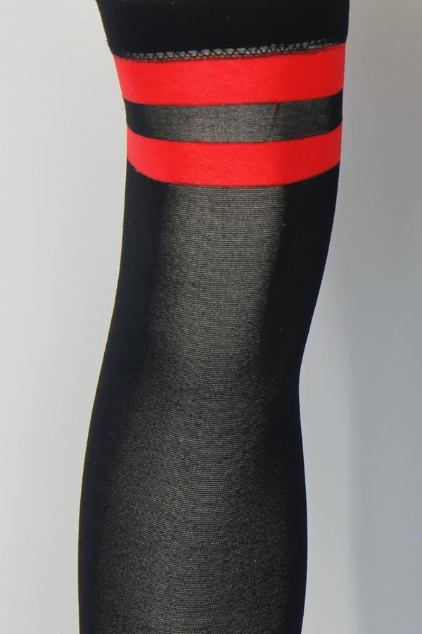 Cool Kırmızı Çizgili Opak Diz Üstü Çorap Siyah