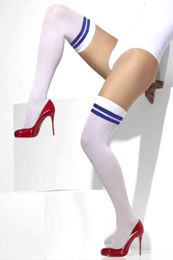 Cool Mavi Çizgili Opak Diz Üstü Çorap Beyaz