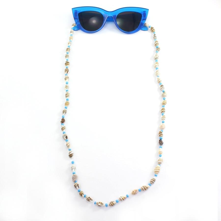 Deniz Kabuklu Mavi Boncuklu Gözlük Zinciri
