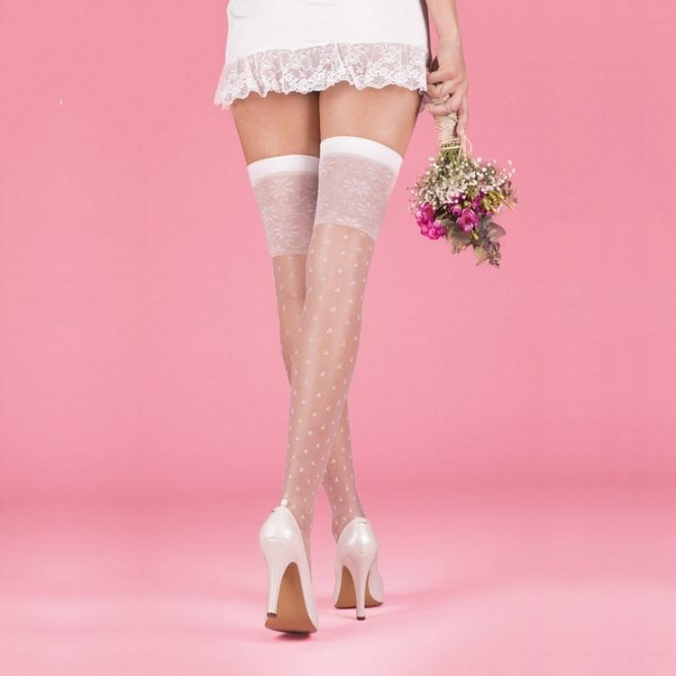 Desenli Jartiyer Çorabı Beyaz