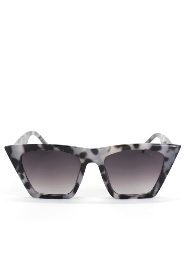 Designer Cat Eye Köşeli Bayan Güneş Gözlüğü Siyah Bej