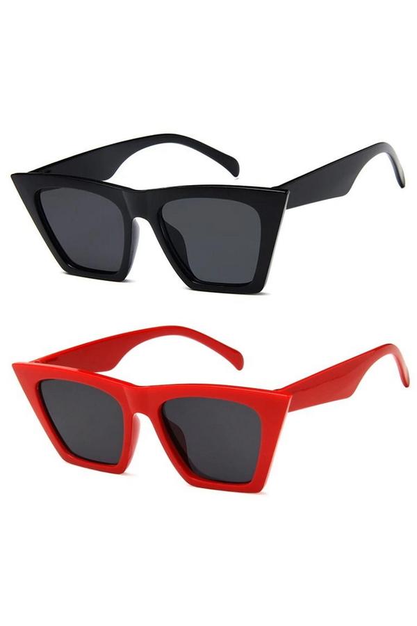 Designer Cat Eye Köşeli Bayan Güneş Gözlüğü Siyah Kırmızı 2'li
