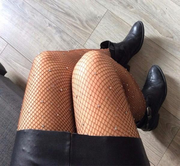 Diamond Taşlı File Külotlu Çorap Kahverengi