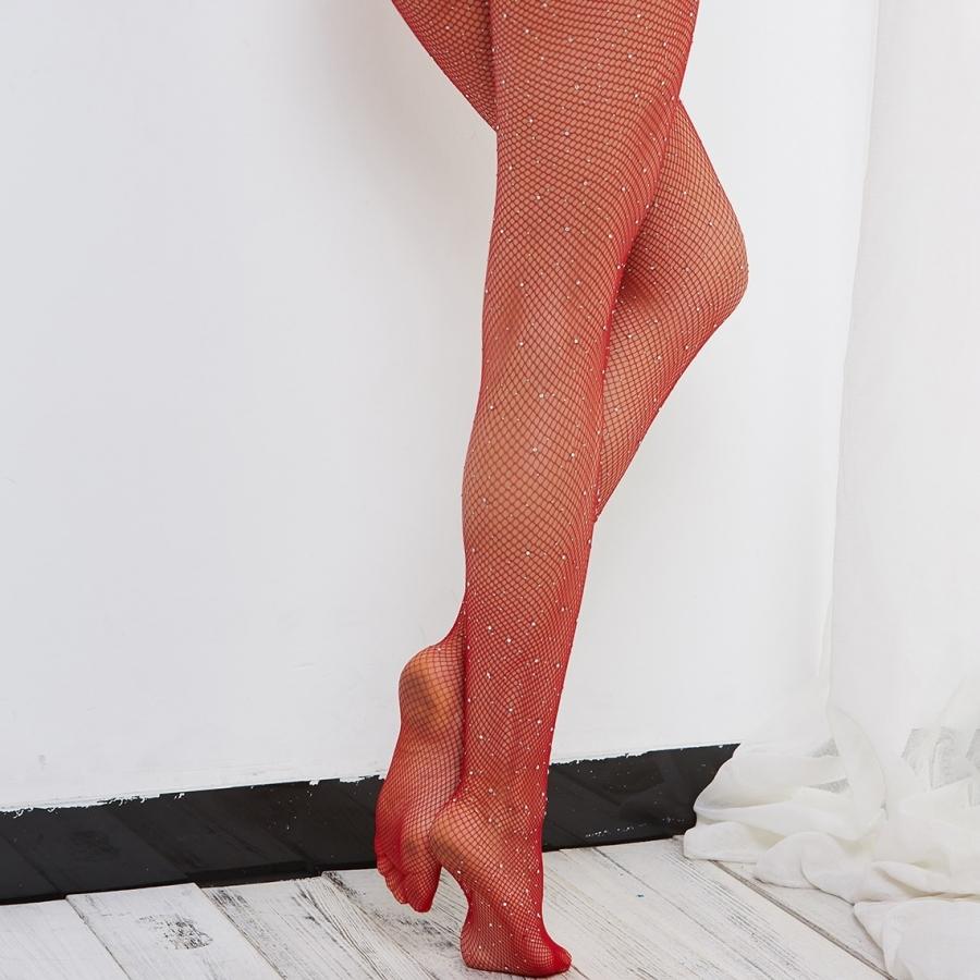 Diamond Taşlı File Külotlu Çorap Kırmızı