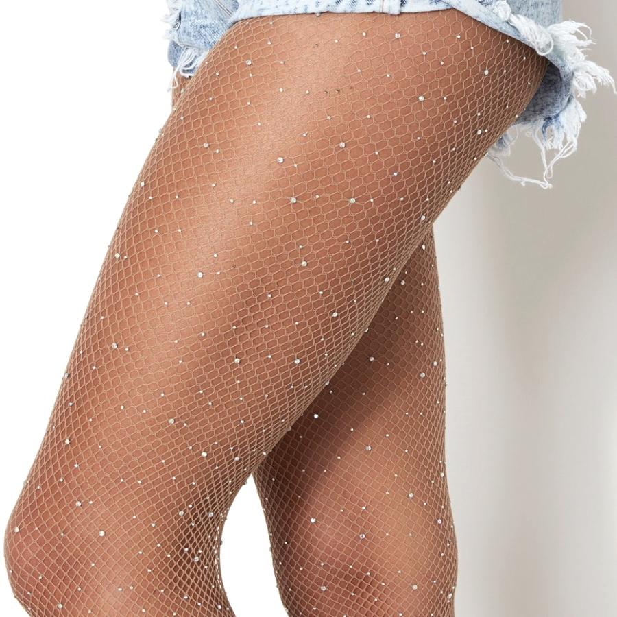 Diamond Taşlı File Külotlu Çorap Ten Rengi