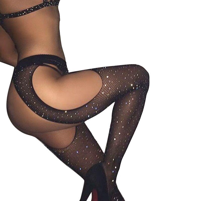 Diamond Yanları Açık Taşlı File Külotlu Çorap Siyah
