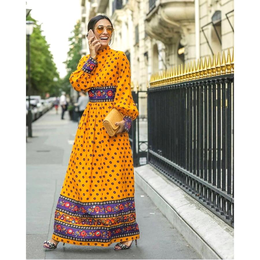 Dik Yaka Satin Uzun Elbise Mor / Sarı