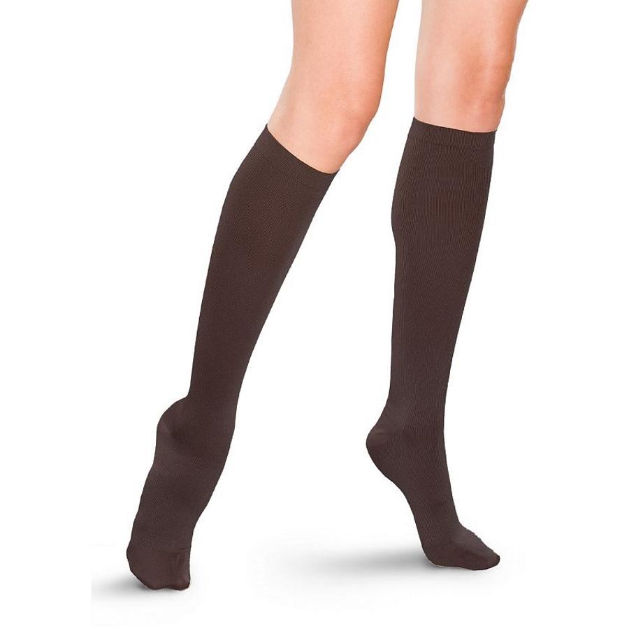 Diz Altı Koton Çorap Kahverengi