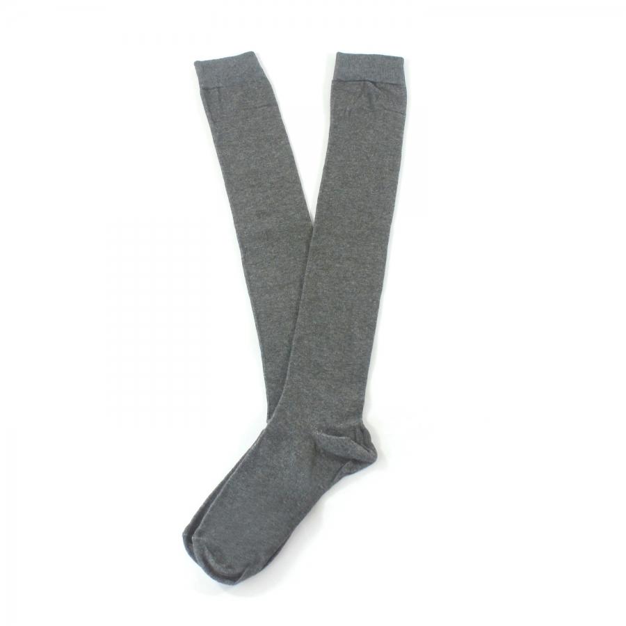 Diz Üstü Koton Çorap Gri