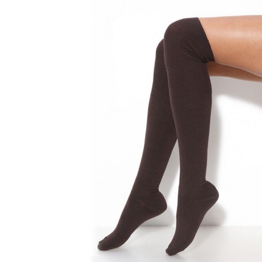 Diz Üstü Koton Çorap Kahverengi