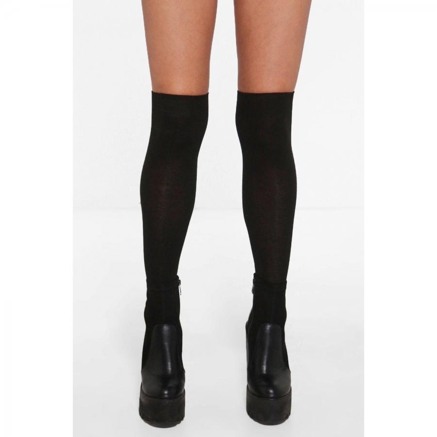 Diz Üstü Koton Çorap Siyah