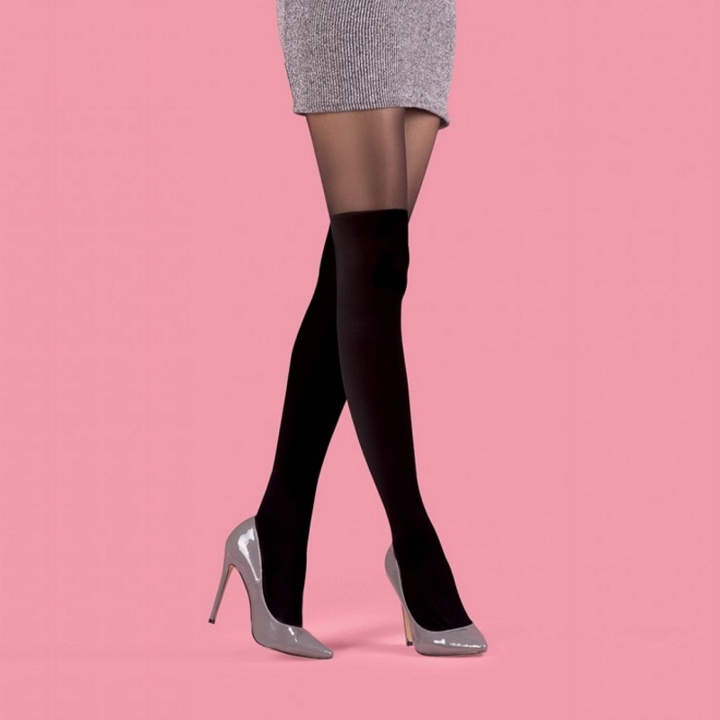 Dizüstü Görünümlü Külotlu Çorap Siyah