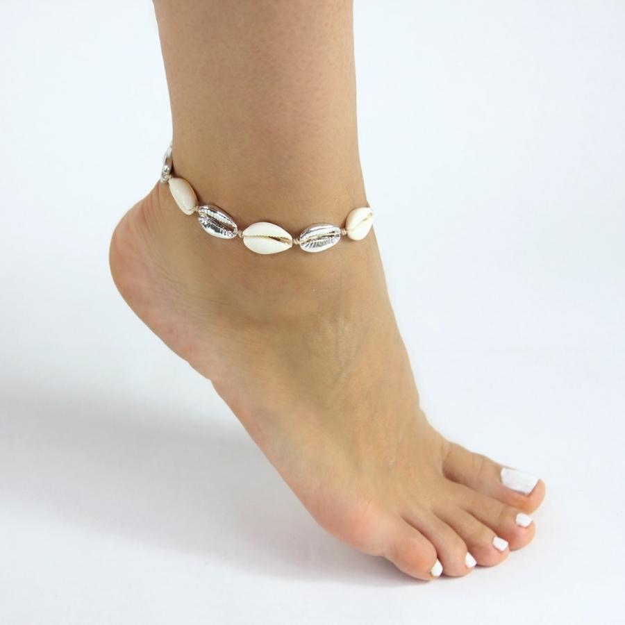 Doğal Deniz Kabuğu Halhal Silver