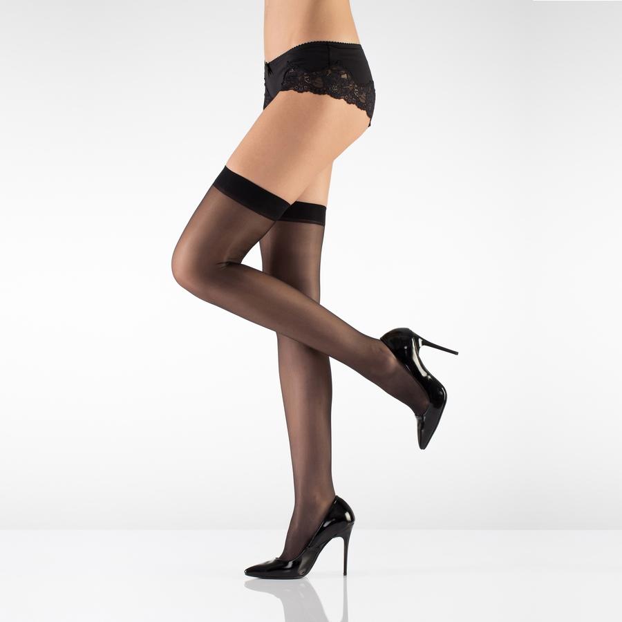 Düz Jartiyer Çorabı 20 Den Siyah