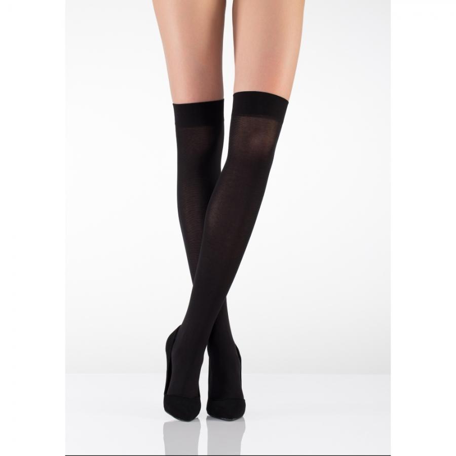 Düz Kalın Koton Dizüstü Çorap 80 Denye Siyah