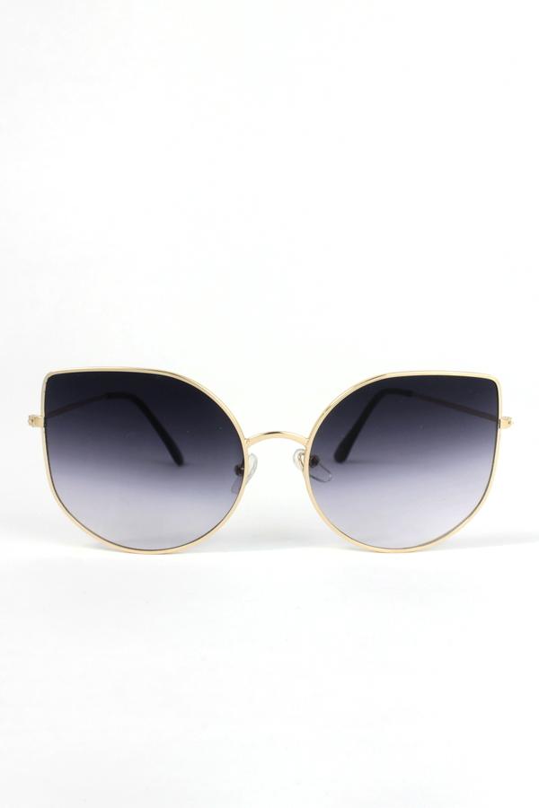 Enzo Gold Metal Çerçeveli Cat Eye Güneş Gözlüğü Degrade Siyah