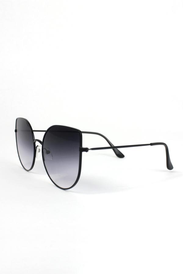 Enzo Siyah Metal Çerçeveli Cat Eye Güneş Gözlüğü Degrade Siyah