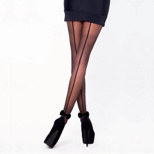 Fiyonklu Arkadan Çizgili Külotlu Çorap Siyah
