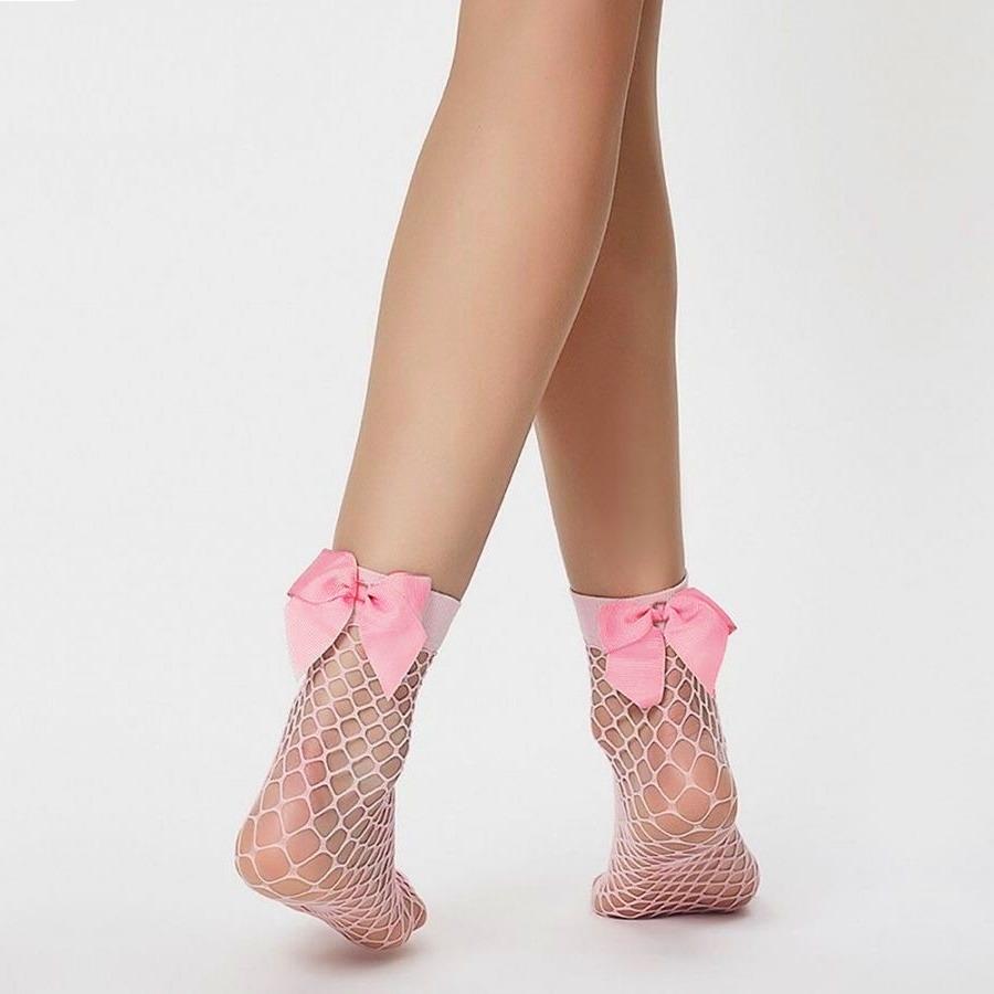 Fiyonklu Kısa File Çorap Pembe