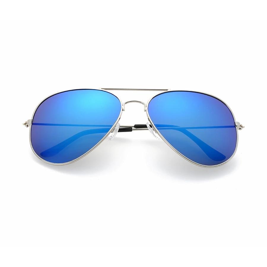 Forever Yours Silver Çerçeveli Damla Unisex Güneş Gözlüğü Aynalı Mavi
