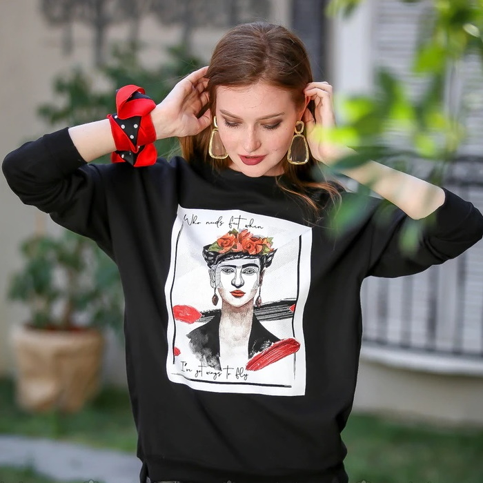 Frida Bayan Sweatshirt Siyah