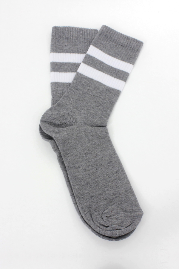 Get Going Beyaz Çizgili Kısa Koton Spor Çorap Gri