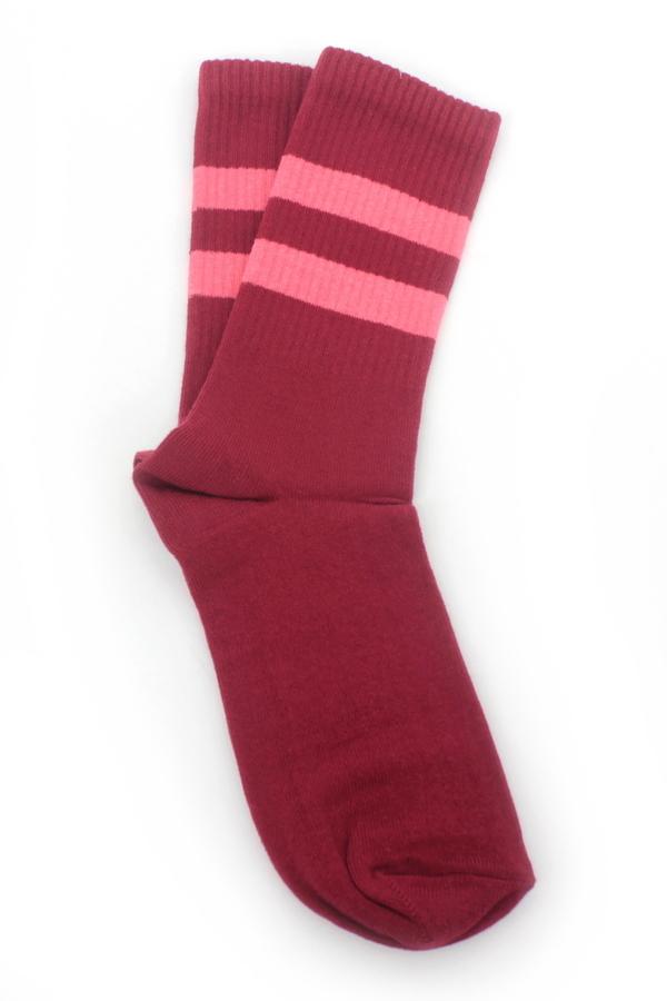 Get Going Pembe Çizgili Kısa Koton Spor Çorap Kırmızı